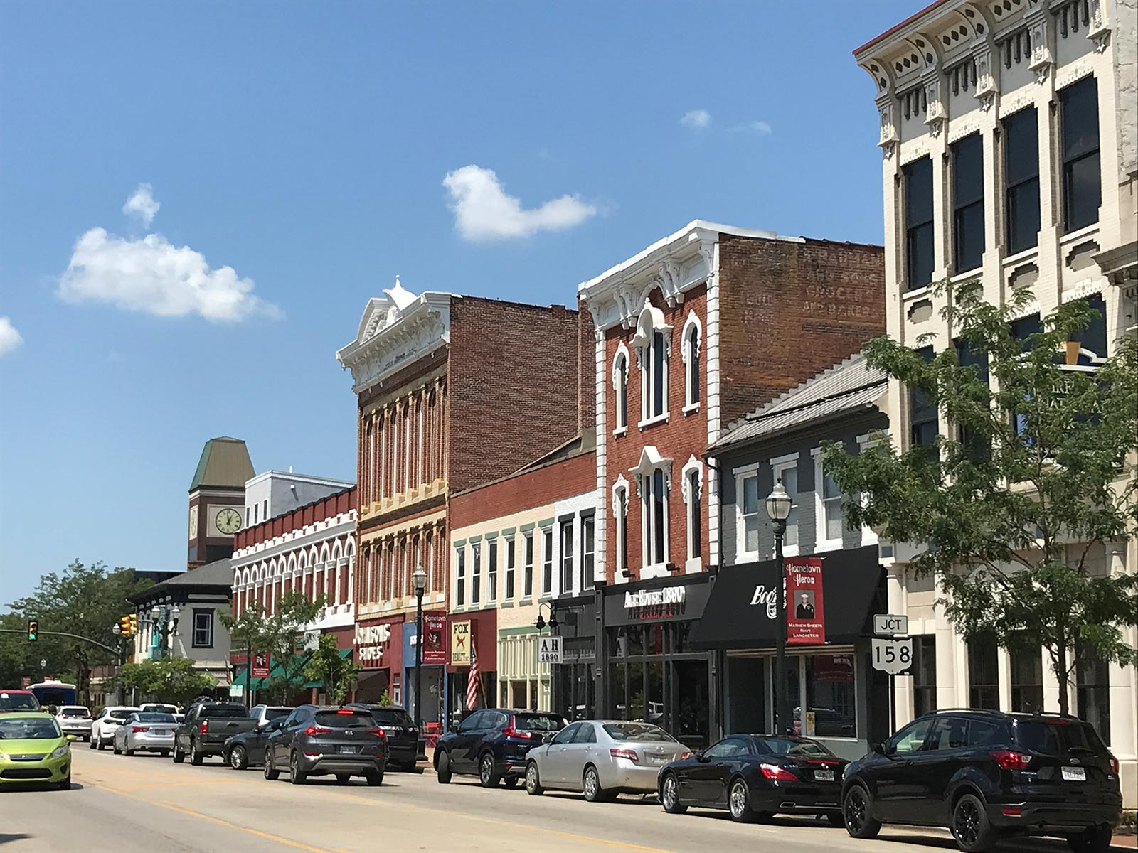 East side of Main Street streetscape in downtown Lancaster, Ohio.