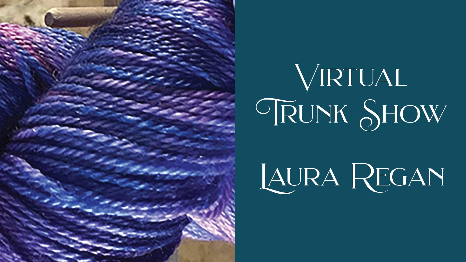 Virtual Trunk Show announcement graphics with purple yarn.