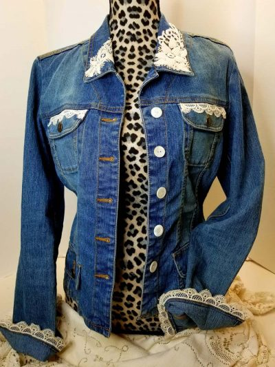 Jean Jacket embellished with new buttons and lace on collars, pockets and cuffs.