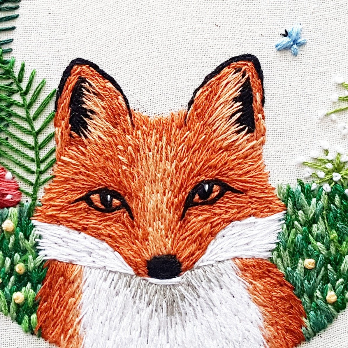 The Little Fox hand embroidery by Jessica Long of Namaste Hand Embroidery