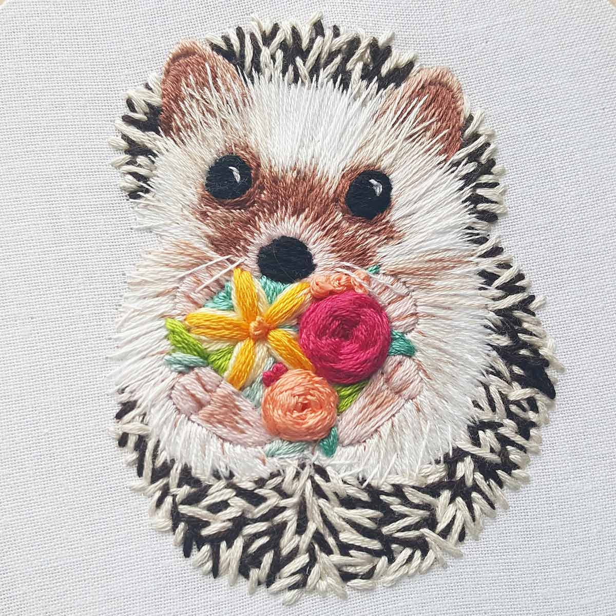 Embroidered hedgehog by Jessica Long of Namaste Hand Embroidery