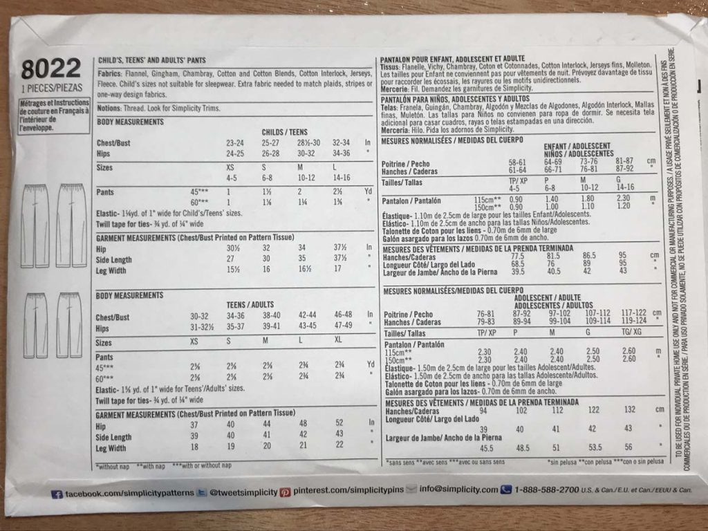 View of the back of a sewing pattern providing dimensions and materials needed.