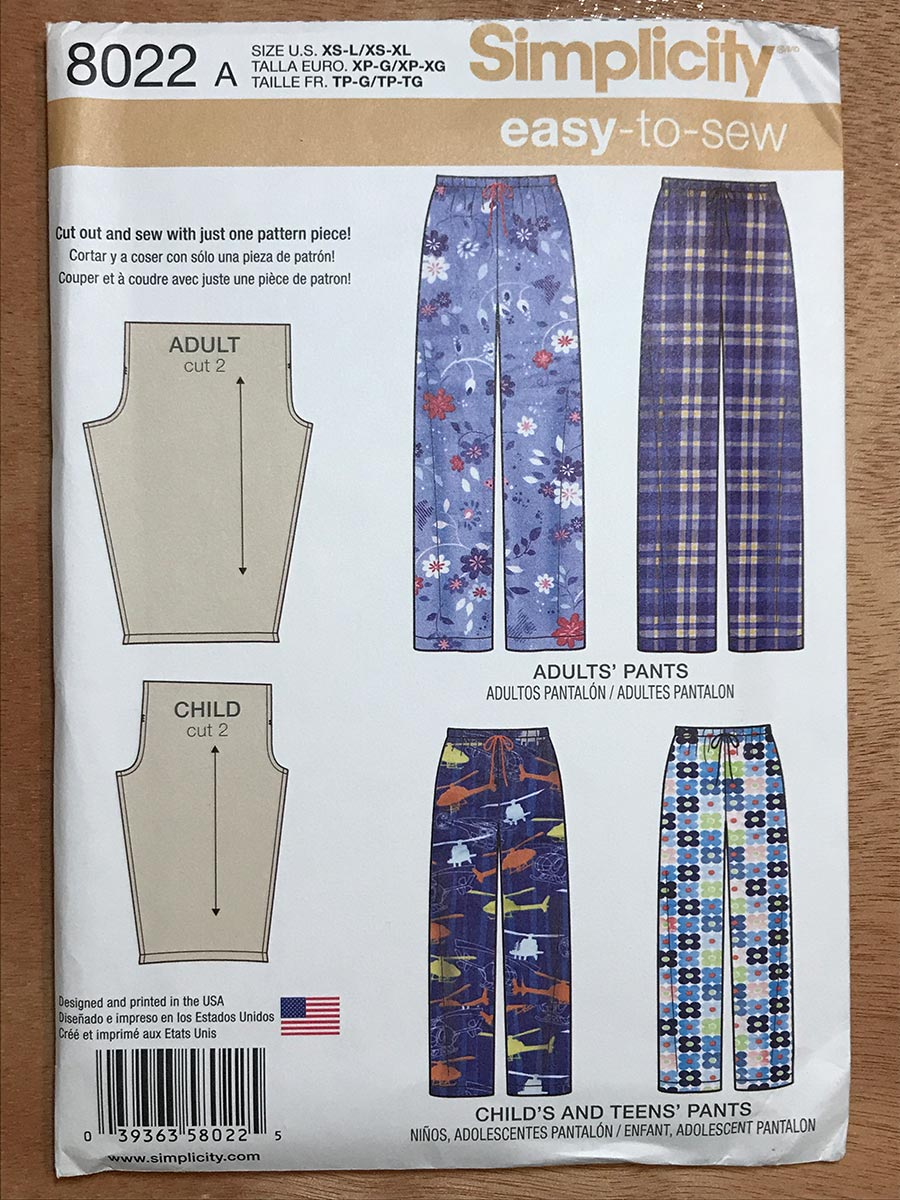 Cover of Simplicity sewing pattern for lounge pants.