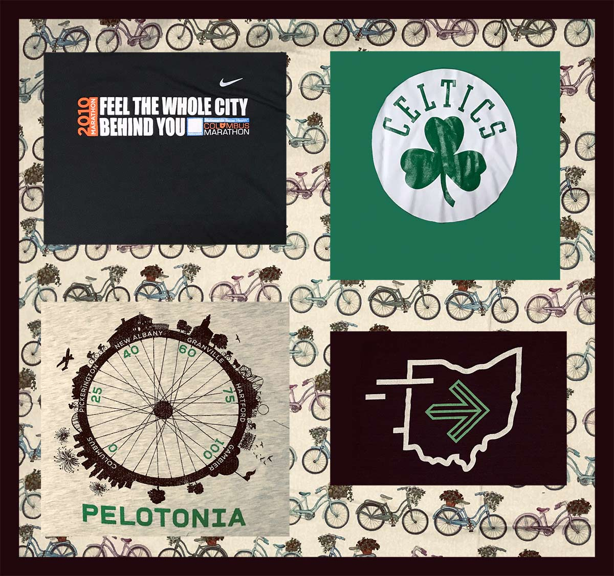 Example of a four T-shirt quilt featuring T-shirts about bicycling and the Boston Celtics.
