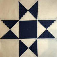Quilt block featuring navy and cream Civil War era colorway and design.