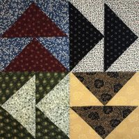 Quilt block in Civil War era fabric patterns and color way.