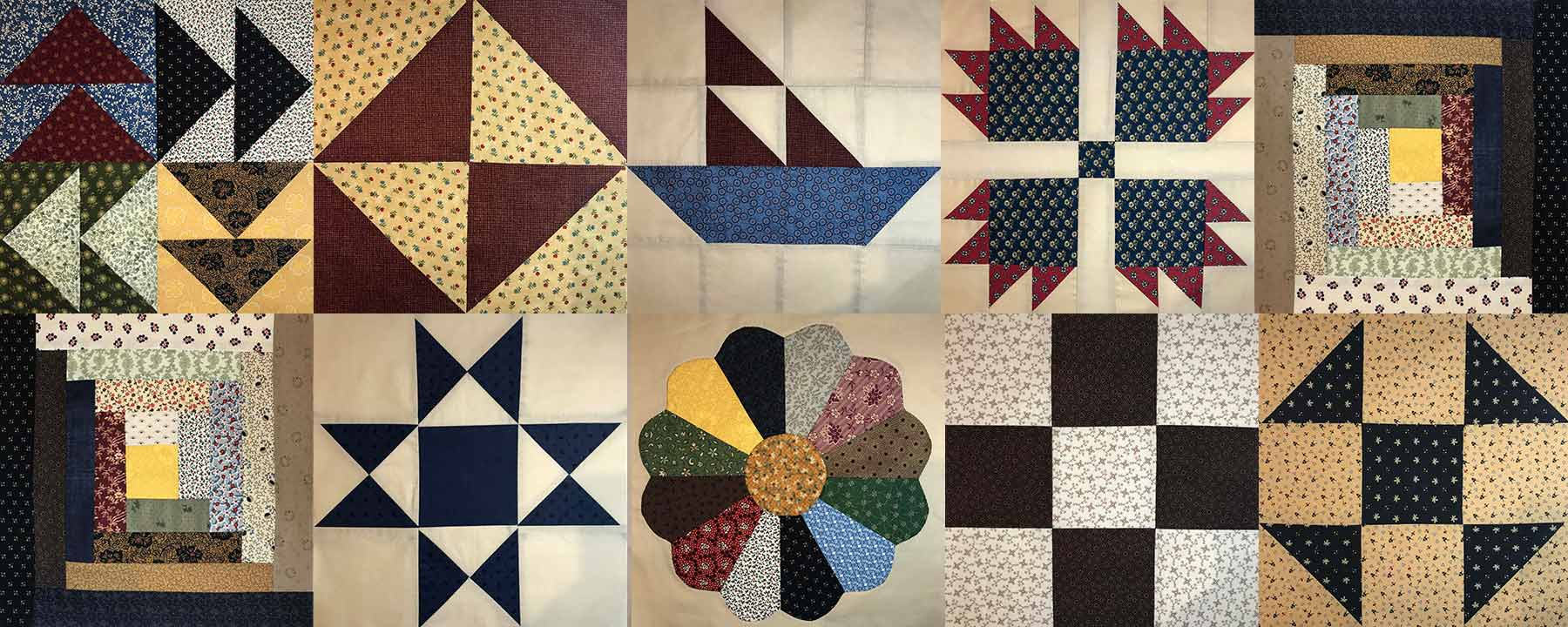 Grid of 10 Civil War color quilt block patterns.