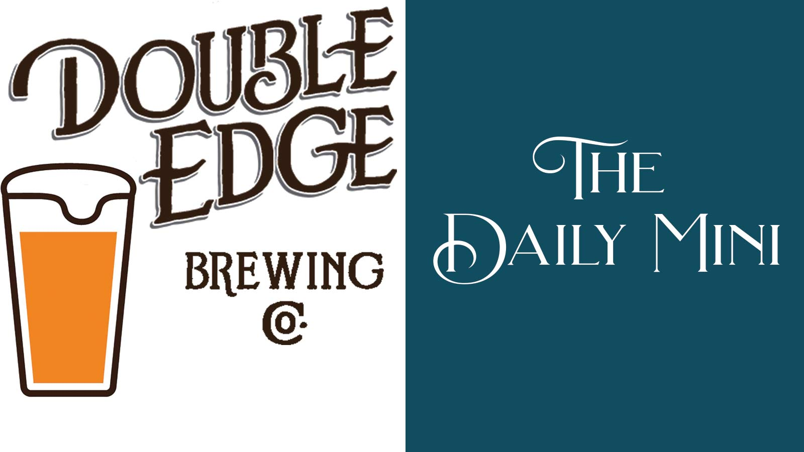 The Daily Mini announcement showing graphic of filled beer glass with Double Edge Brewing Co. logo.