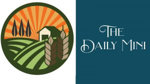 The Daily Mini announcement featuring a graphic showing a barn in a farm field with radiant sunset.