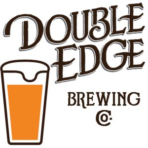 Graphic showing glass of beer and Double Edge Brewing Co. logo.
