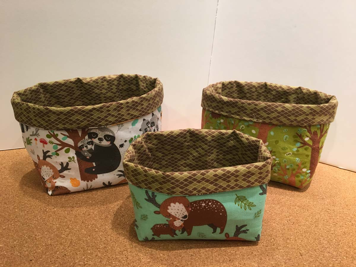 Three Stacking Fabric Baskets