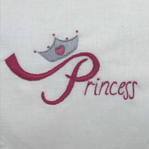 Hand-embroidered word Princess with crown.