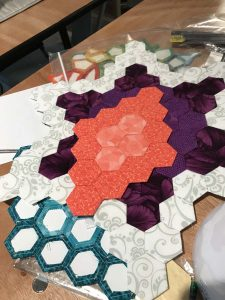 Colorful English Paper Piecing in progress.