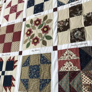 View of a selection of Civil War era quilt blocks in the Lancaster Community Quilt