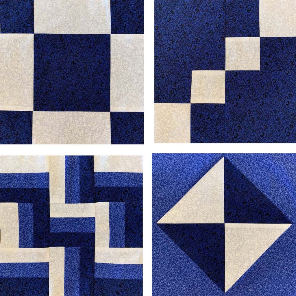 Selection of four blue and white quilt block designs.