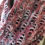 Close-up of Lancaster Cowl crochet stitch pattern in Fairfield County Fair colorway.